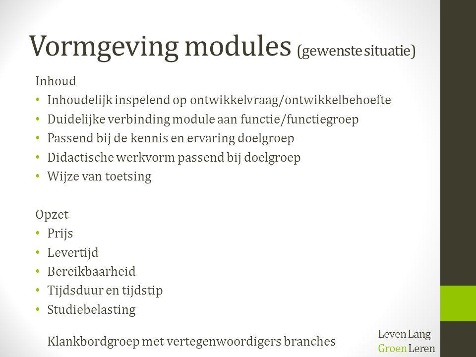 Vormgeving modules (gewenste situatie) Inhoud Inhoudelijk inspelend op ontwikkelvraag/ontwikkelbehoefte Duidelijke verbinding module aan functie/funct