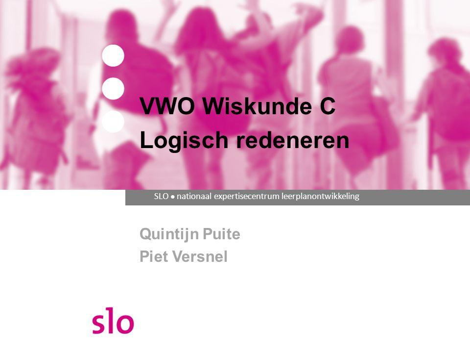 Programma Uitgangspunt uit cTWO rapport Eindtermen uit de syllabus Lesmateriaal Logisch redeneren Opgaven uit de pilotexamens