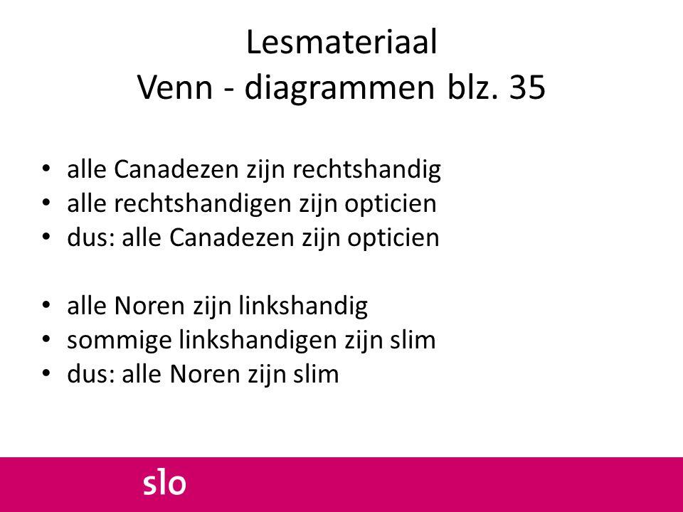 Lesmateriaal Venn - diagrammen blz. 35 alle Canadezen zijn rechtshandig alle rechtshandigen zijn opticien dus: alle Canadezen zijn opticien alle Noren