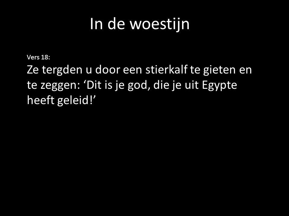 In de woestijn Vers 18: Ze tergden u door een stierkalf te gieten en te zeggen: 'Dit is je god, die je uit Egypte heeft geleid!'