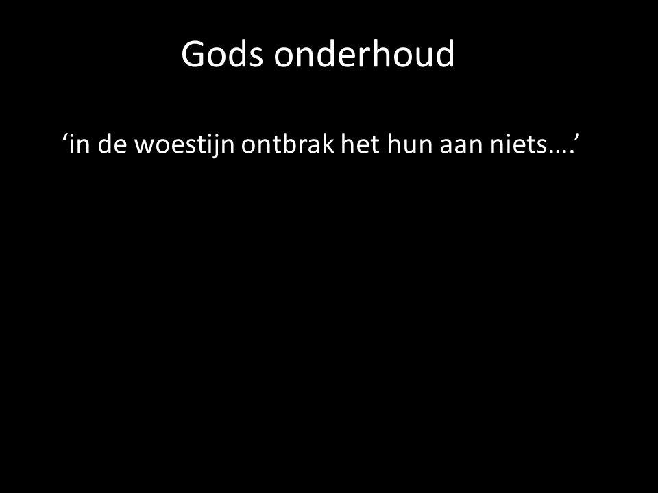 Gods onderhoud 'in de woestijn ontbrak het hun aan niets….'