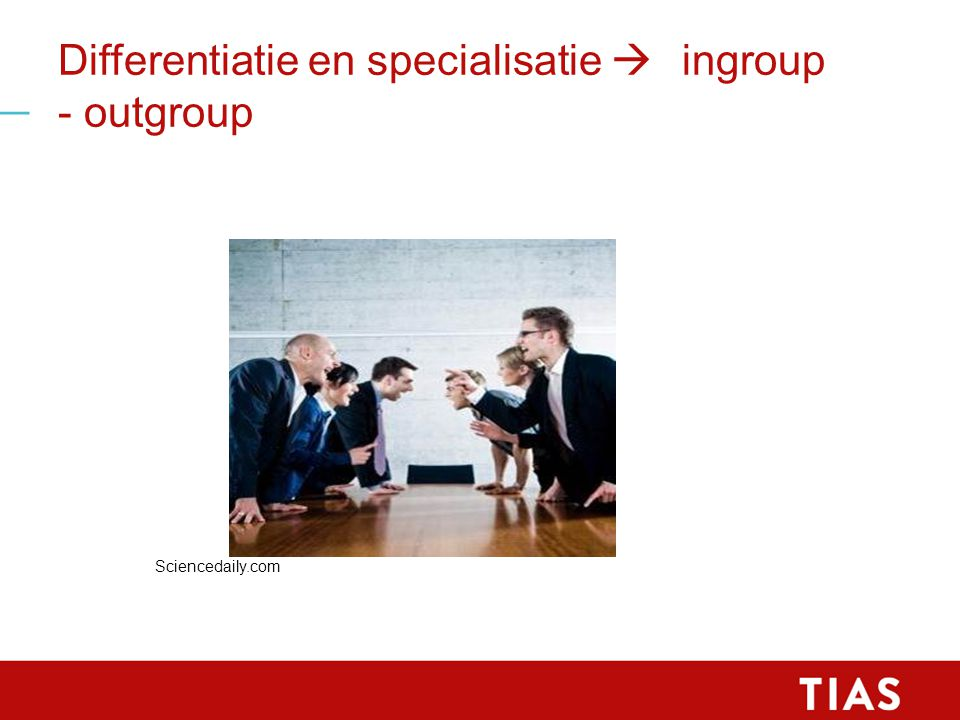Differentiatie en specialisatie  ingroup - outgroup Sciencedaily.com