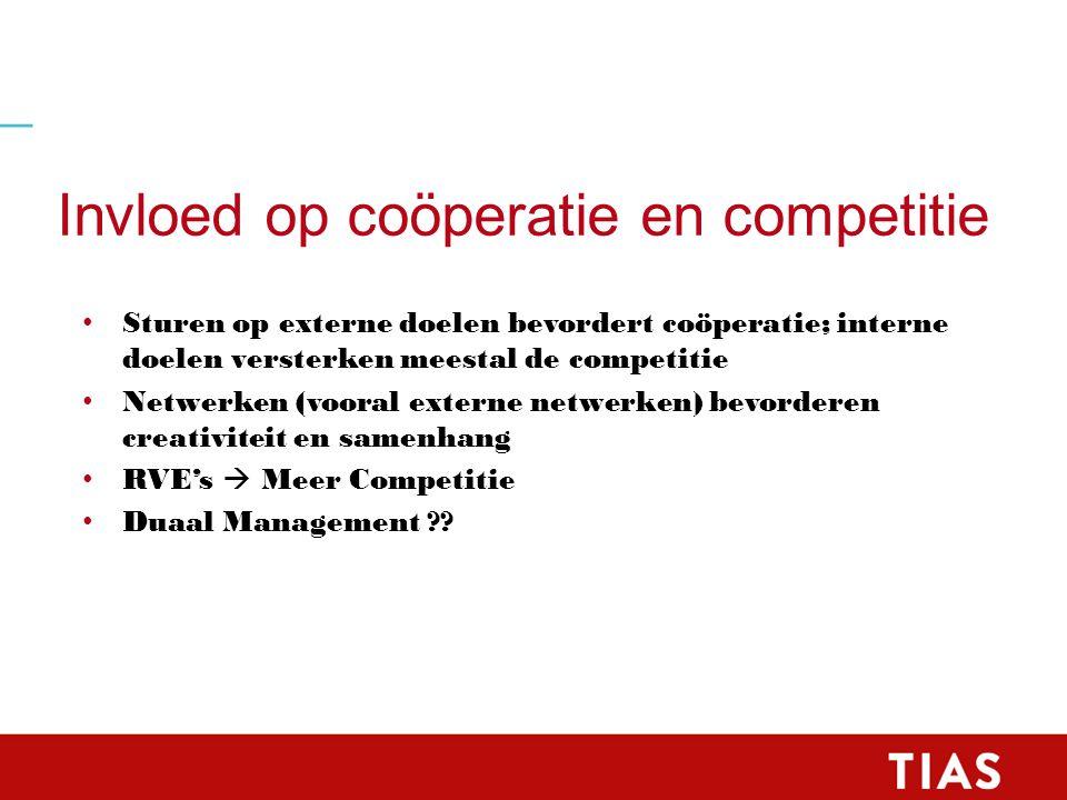 Invloed op coöperatie en competitie Sturen op externe doelen bevordert coöperatie; interne doelen versterken meestal de competitie Netwerken (vooral externe netwerken) bevorderen creativiteit en samenhang RVE's  Meer Competitie Duaal Management
