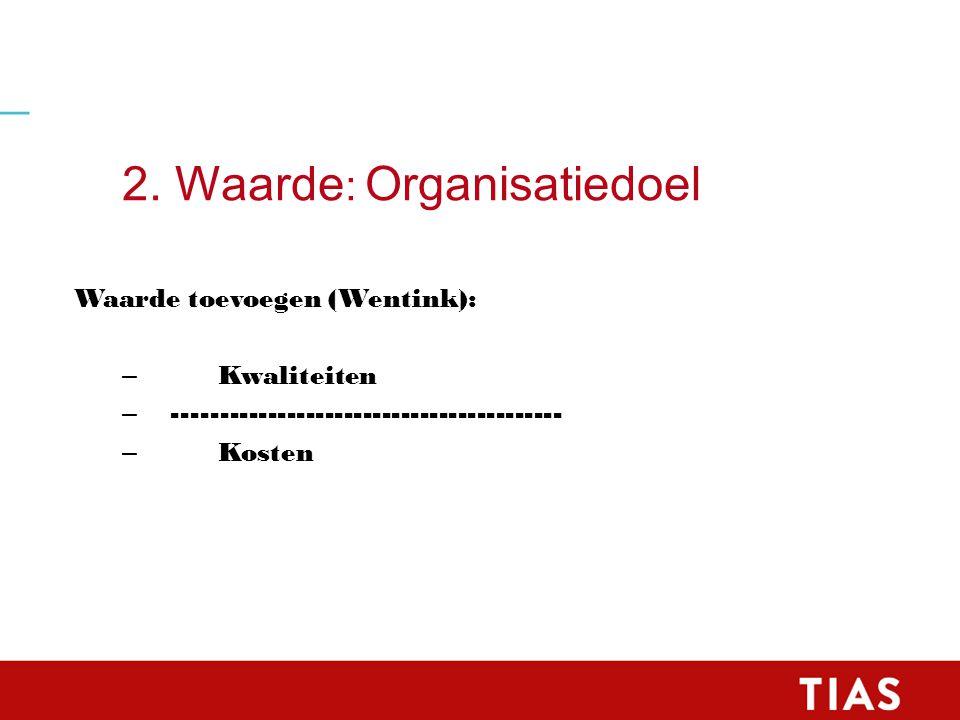 2. Waarde : Organisatiedoel Waarde toevoegen (Wentink): – Kwaliteiten – ----------------------------------------- – Kosten