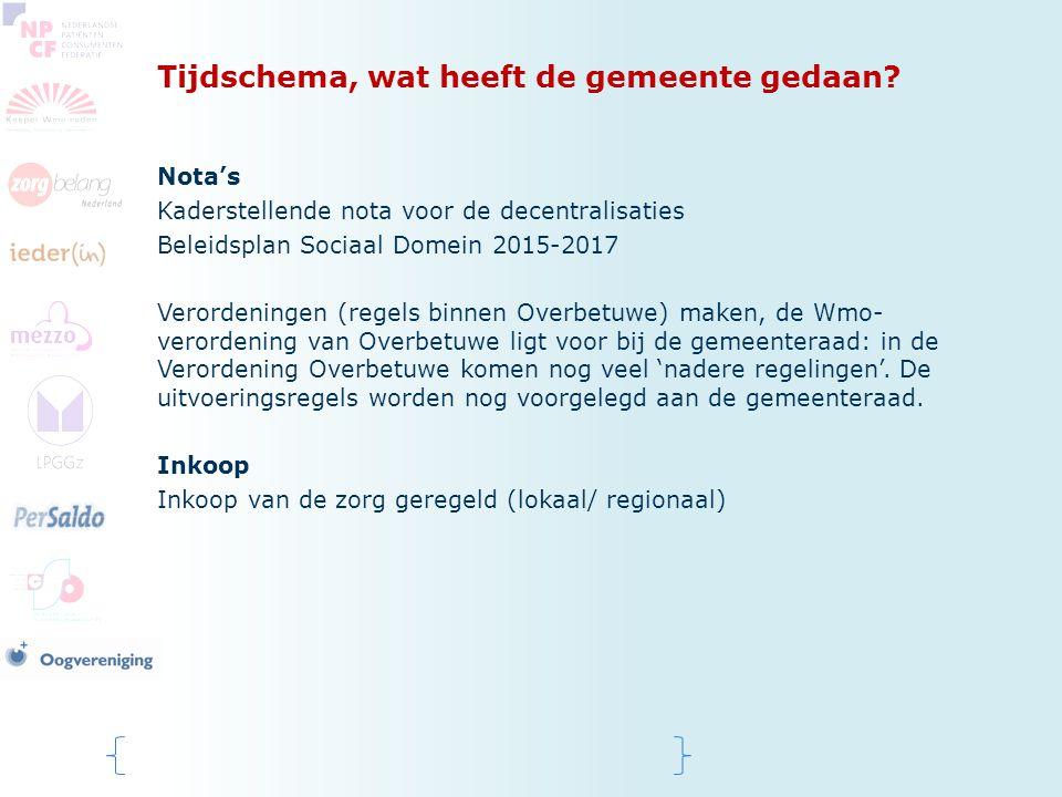 Tijdschema, wat heeft de gemeente gedaan? Nota's Kaderstellende nota voor de decentralisaties Beleidsplan Sociaal Domein 2015-2017 Verordeningen (rege