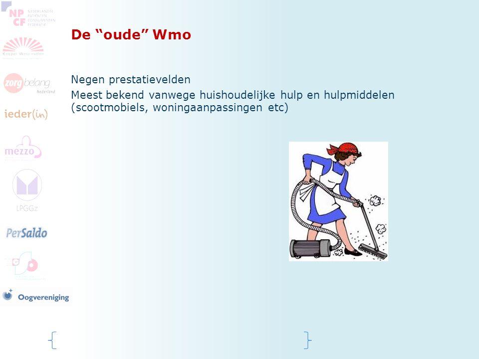"""De """"oude"""" Wmo Negen prestatievelden Meest bekend vanwege huishoudelijke hulp en hulpmiddelen (scootmobiels, woningaanpassingen etc)"""