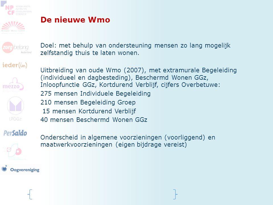 De nieuwe Wmo Doel: met behulp van ondersteuning mensen zo lang mogelijk zelfstandig thuis te laten wonen. Uitbreiding van oude Wmo (2007), met extram