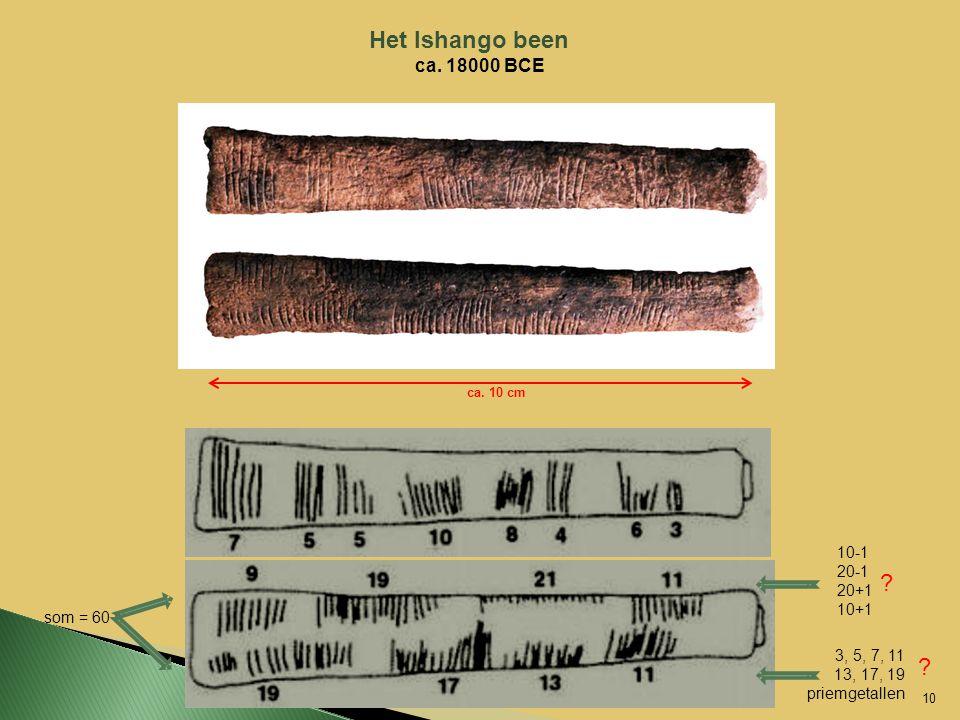 Het Ishango been ca. 18000 BCE som = 60 3, 5, 7, 11 13, 17, 19 priemgetallen ca. 10 cm 10-1 20-1 20+1 10+1 10 ca. 10 cm ? ?