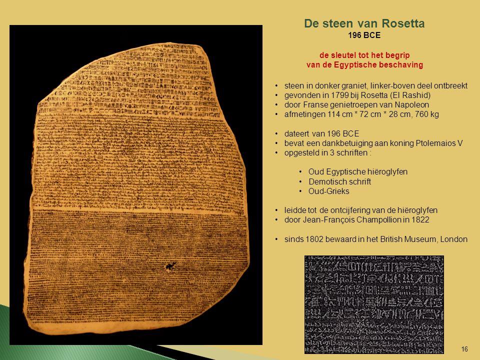 De steen van Rosetta 196 BCE de sleutel tot het begrip van de Egyptische beschaving steen in donker graniet, linker-boven deel ontbreekt gevonden in 1