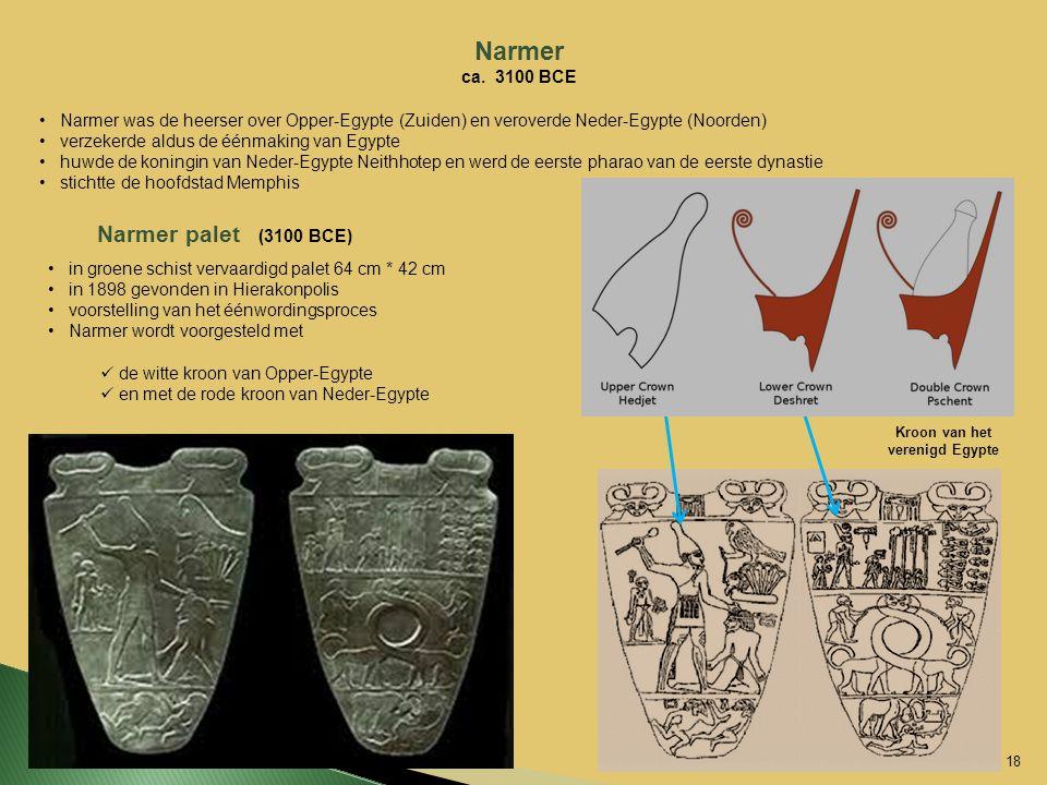 Narmer ca. 3100 BCE Narmer was de heerser over Opper-Egypte (Zuiden) en veroverde Neder-Egypte (Noorden) verzekerde aldus de éénmaking van Egypte huwd