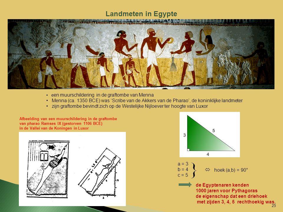 Landmeten in Egypte e en muurschildering in de graftombe van Menna Menna (ca. 1350 BCE) was 'Scribe van de Akkers van de Pharao', de koninklijke landm