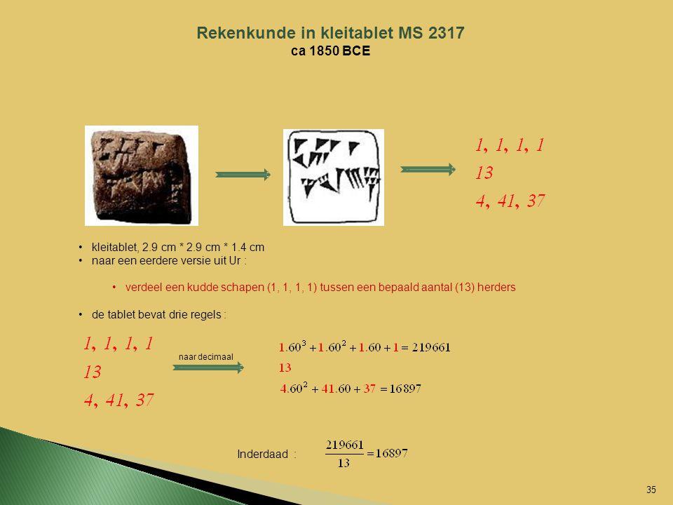 Rekenkunde in kleitablet MS 2317 ca 1850 BCE kleitablet, 2.9 cm * 2.9 cm * 1.4 cm naar een eerdere versie uit Ur : verdeel een kudde schapen (1, 1, 1,