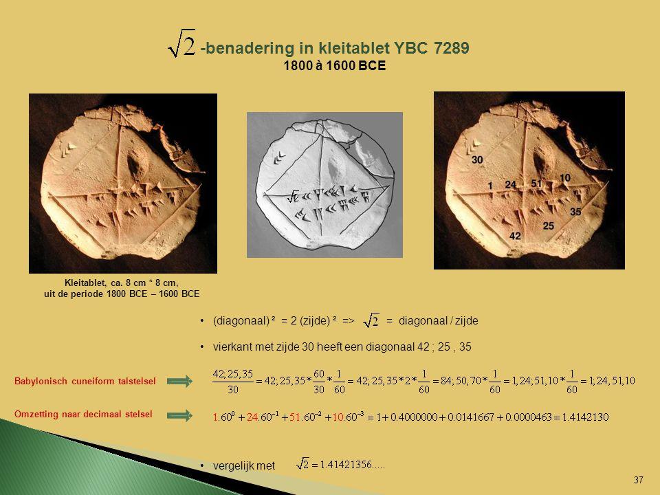 -benadering in kleitablet YBC 7289 1800 à 1600 BCE Kleitablet, ca. 8 cm * 8 cm, uit de periode 1800 BCE – 1600 BCE (diagonaal) ² = 2 (zijde) ² => = di