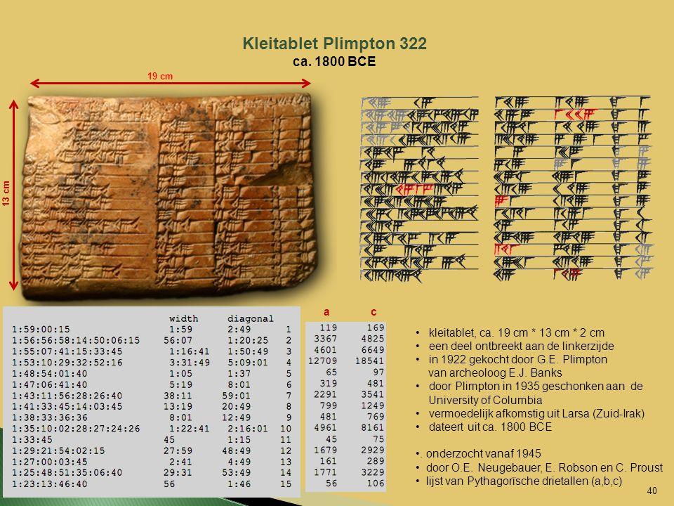 Kleitablet Plimpton 322 ca. 1800 BCE 19 cm 13 cm kleitablet, ca. 19 cm * 13 cm * 2 cm een deel ontbreekt aan de linkerzijde in 1922 gekocht door G.E.
