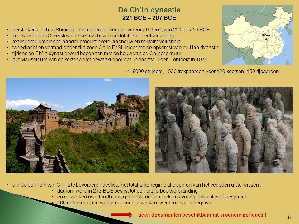 De Ch'in dynastie 221 BCE – 207 BCE eerste keizer Ch'in Shiuang, die regeerde over een verenigd China, van 221 tot 210 BCE zijn kanselier Li Si verste