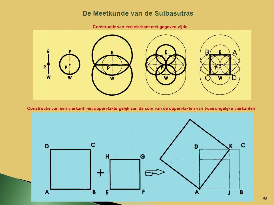 De Meetkunde van de Sulbasutras Constructie van een vierkant met gegeven zijde Constructie van een vierkant met oppervlakte gelijk aan de som van de o
