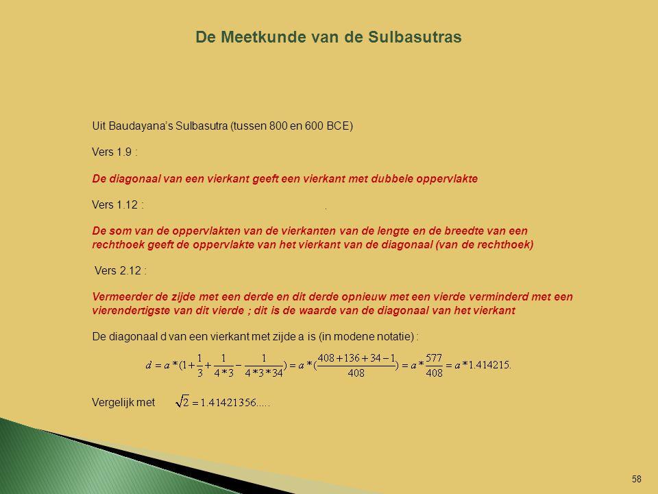De Meetkunde van de Sulbasutras Uit Baudayana's Sulbasutra (tussen 800 en 600 BCE) Vers 1.9 : De diagonaal van een vierkant geeft een vierkant met dub