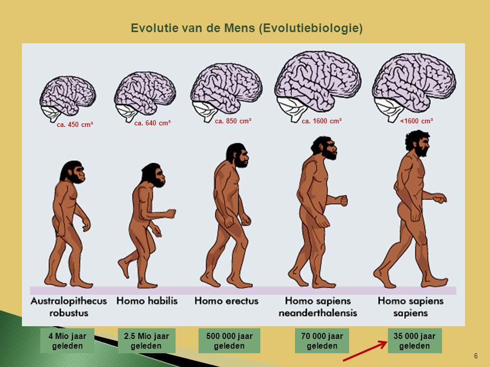 4 Mio jaar geleden 2.5 Mio jaar geleden 500 000 jaar geleden 70 000 jaar geleden 35 000 jaar geleden Evolutie van de Mens (Evolutiebiologie) 6 ca. 450