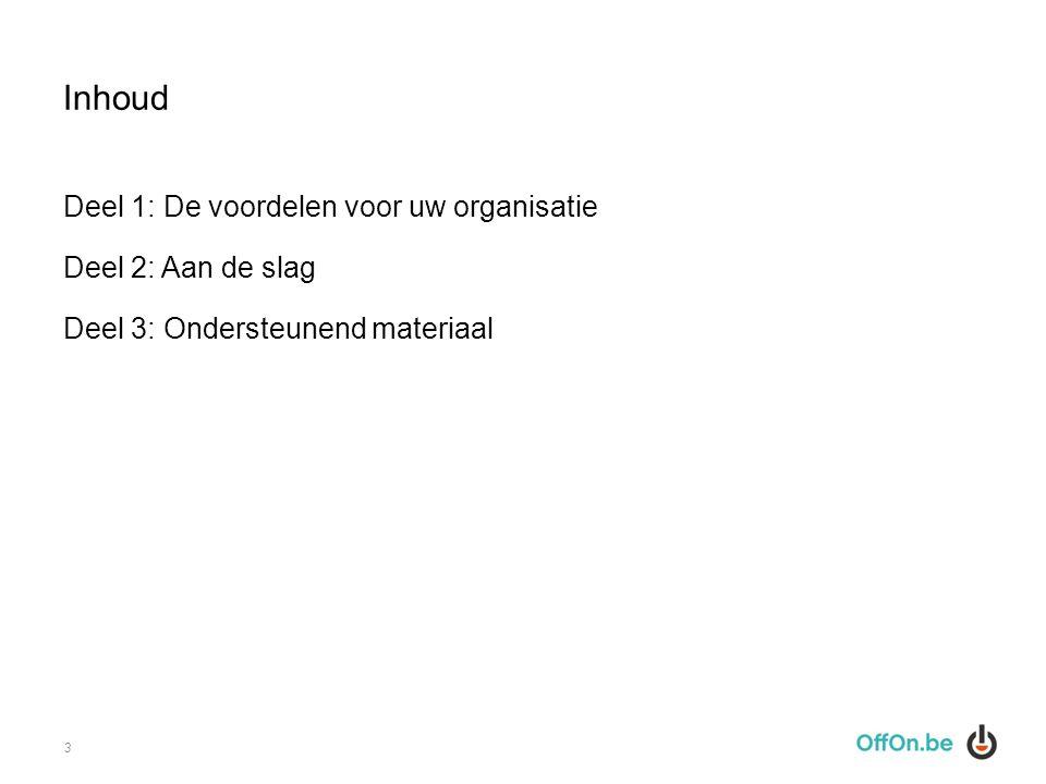 Inhoud Deel 1: De voordelen voor uw organisatie Deel 2: Aan de slag Deel 3: Ondersteunend materiaal 3