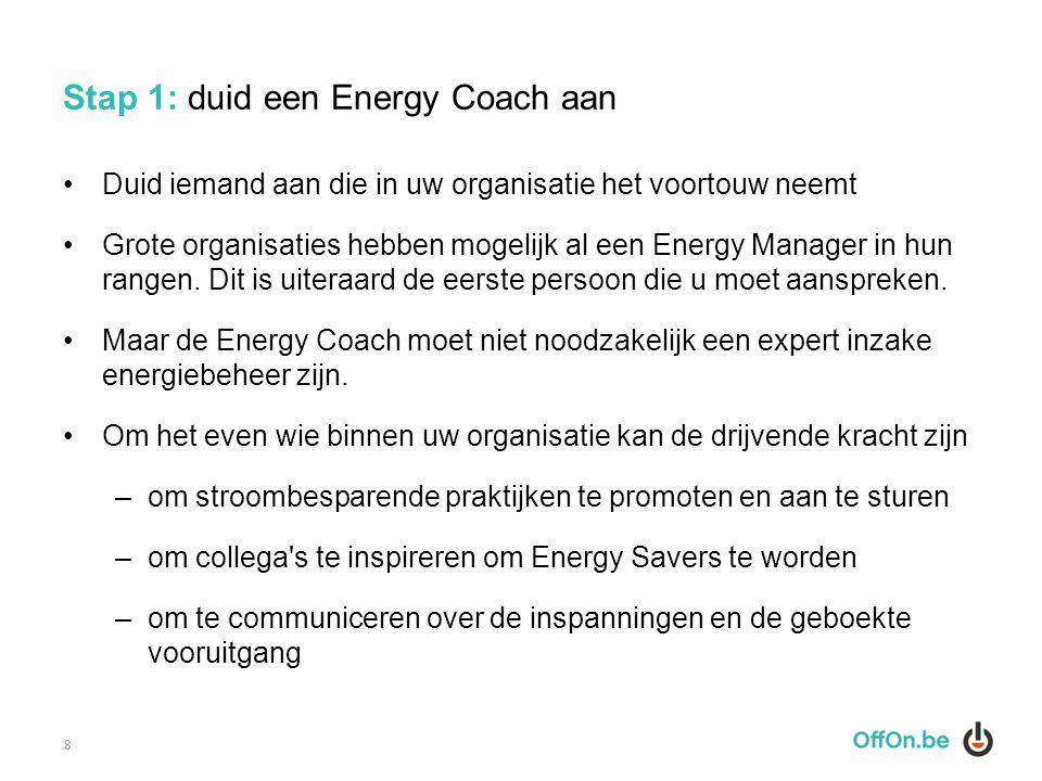 Stap 1: duid een Energy Coach aan Duid iemand aan die in uw organisatie het voortouw neemt Grote organisaties hebben mogelijk al een Energy Manager in