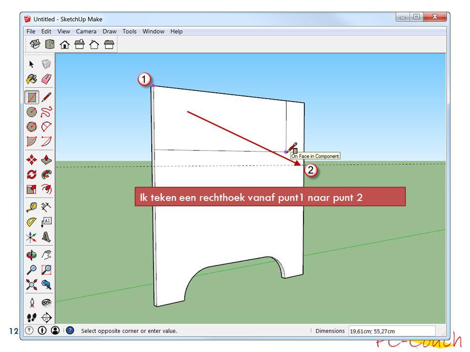 12 Ik teken een rechthoek vanaf punt1 naar punt 2