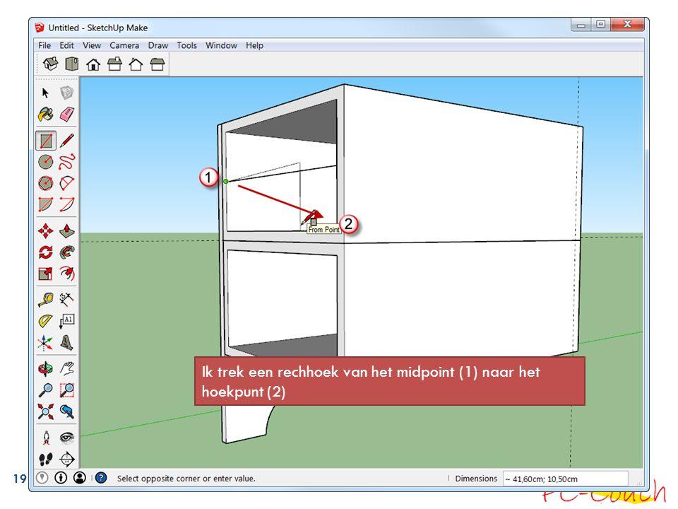19 Ik trek een rechhoek van het midpoint (1) naar het hoekpunt (2)