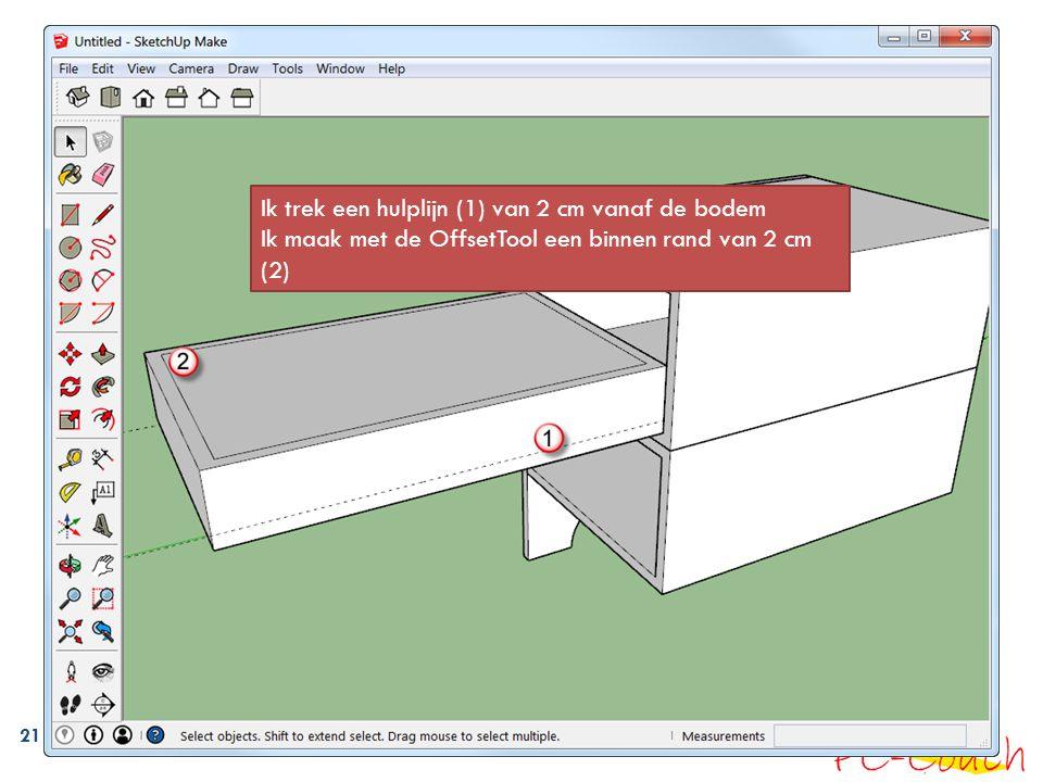 21 Ik trek een hulplijn (1) van 2 cm vanaf de bodem Ik maak met de OffsetTool een binnen rand van 2 cm (2)