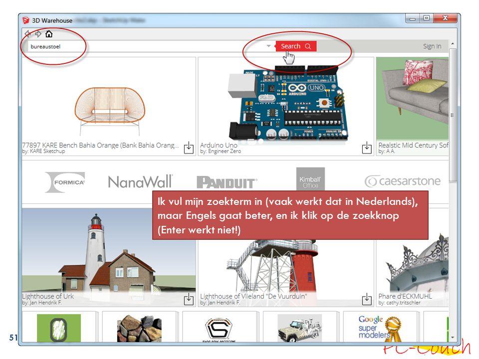 51 Ik vul mijn zoekterm in (vaak werkt dat in Nederlands), maar Engels gaat beter, en ik klik op de zoekknop (Enter werkt niet!)