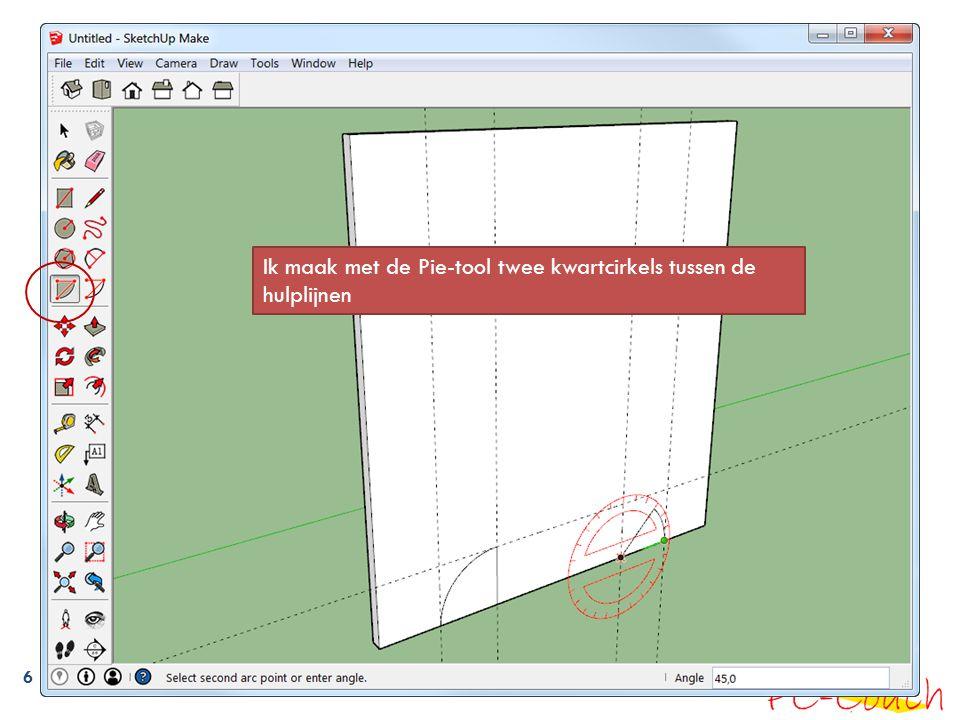 6 Ik maak met de Pie-tool twee kwartcirkels tussen de hulplijnen