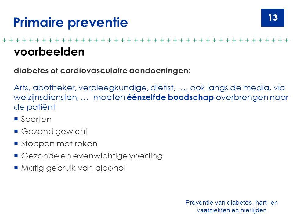 13 Primaire preventie voorbeelden diabetes of cardiovasculaire aandoeningen: Arts, apotheker, verpleegkundige, diëtist, …. ook langs de media, via wel