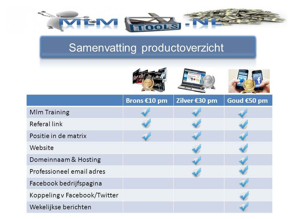 Samenvatting productoverzicht Brons €10 pmZilver €30 pmGoud €50 pm Mlm Training Referal link Positie in de matrix Website Domeinnaam & Hosting Profess