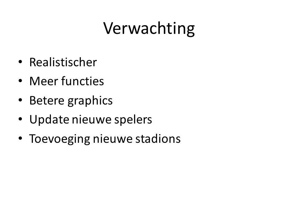Verwachting Realistischer Meer functies Betere graphics Update nieuwe spelers Toevoeging nieuwe stadions