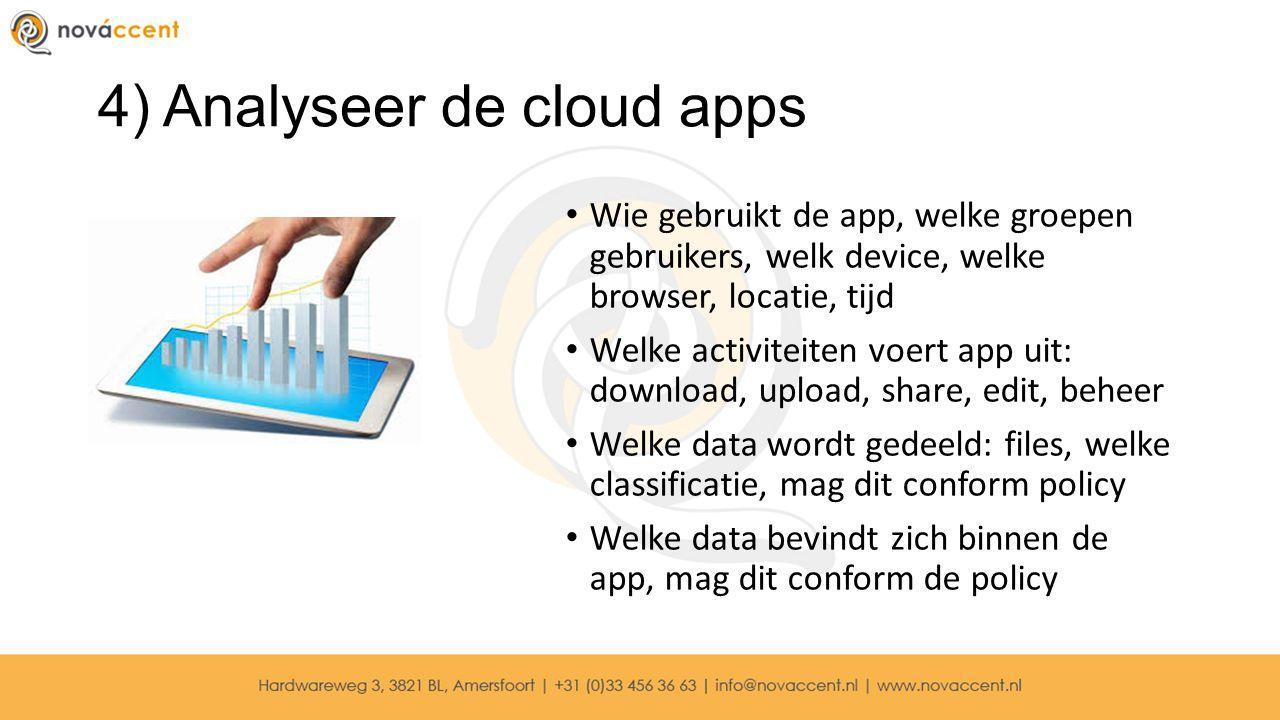 4) Analyseer de cloud apps Wie gebruikt de app, welke groepen gebruikers, welk device, welke browser, locatie, tijd Welke activiteiten voert app uit: