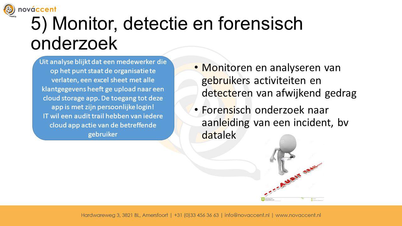 5) Monitor, detectie en forensisch onderzoek Monitoren en analyseren van gebruikers activiteiten en detecteren van afwijkend gedrag Forensisch onderzo