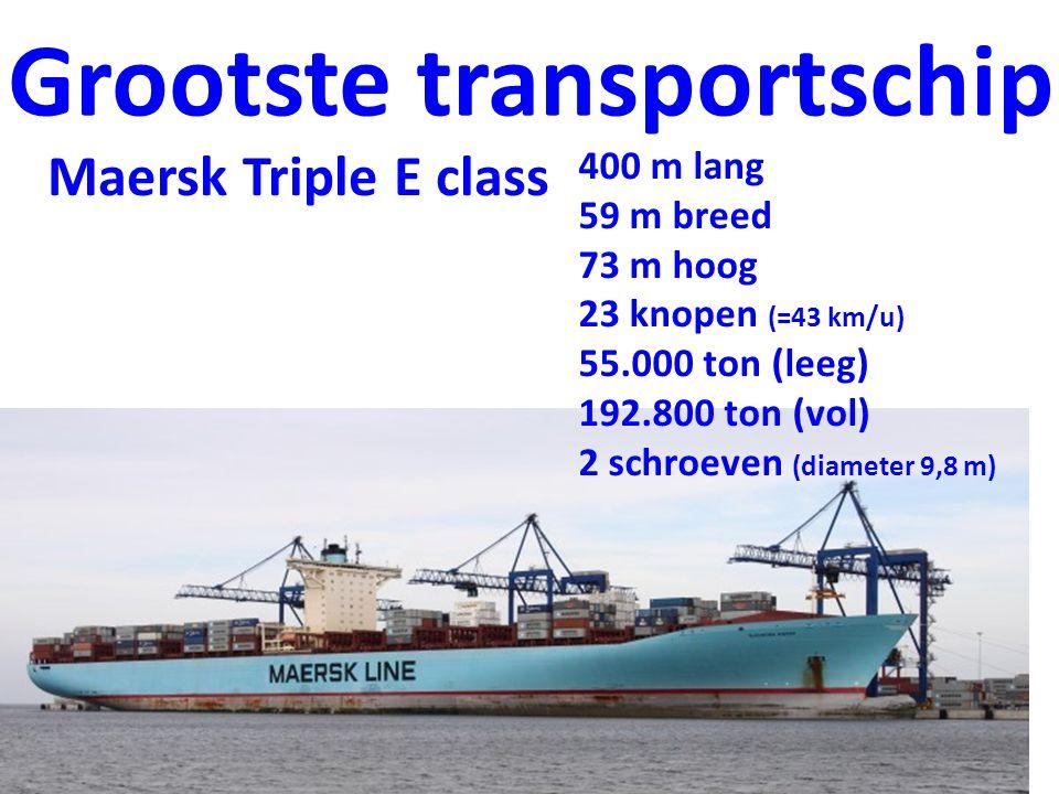 Maersk Triple E class Grootste transportschip 400 m lang 59 m breed 73 m hoog 23 knopen (=43 km/u) 55.000 ton (leeg) 192.800 ton (vol) 2 schroeven (diameter 9,8 m)
