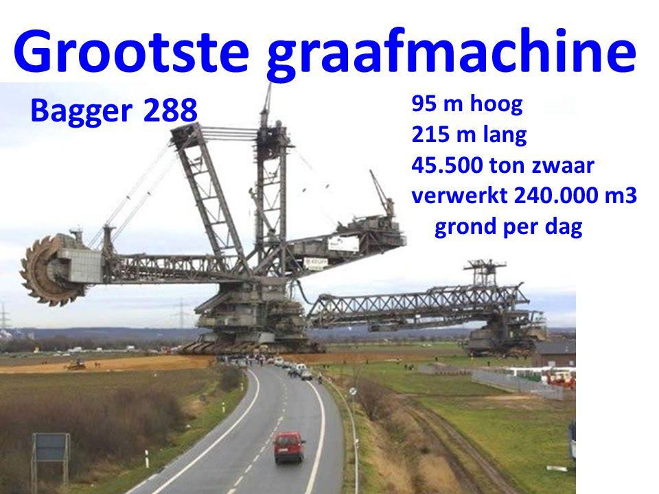 Grootste graafmachine 95 m hoog 215 m lang 45.500 ton zwaar verwerkt 240.000 m3 grond per dag Bagger 288