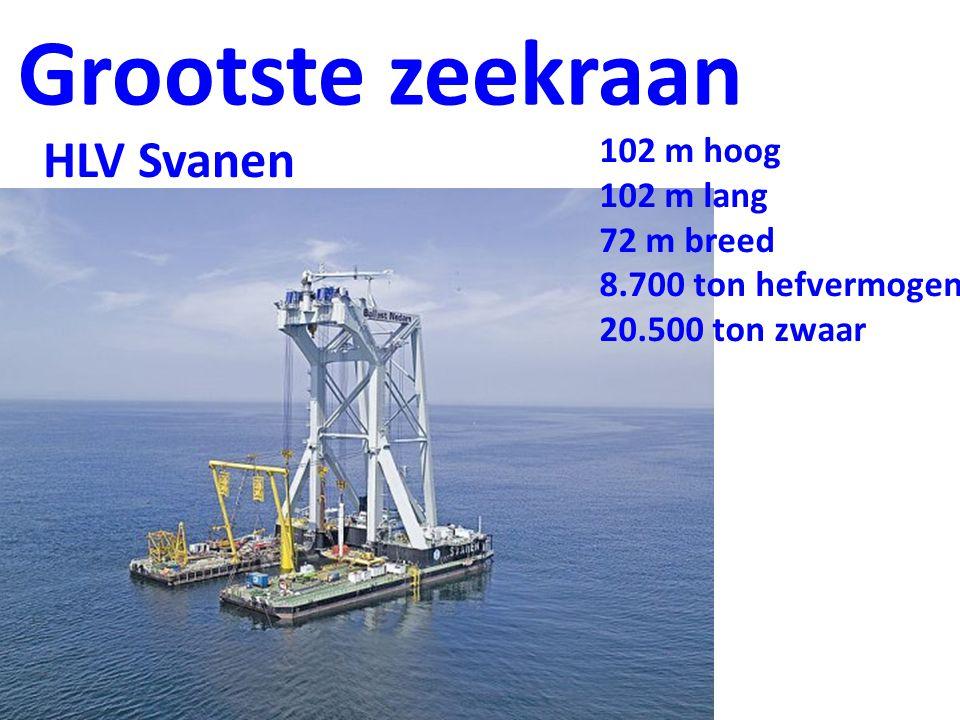 Grootste zeekraan 102 m hoog 102 m lang 72 m breed 8.700 ton hefvermogen 20.500 ton zwaar HLV Svanen