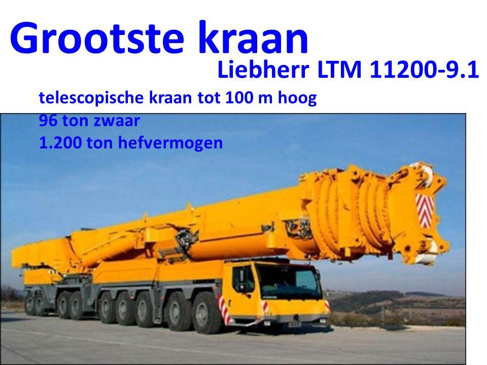 Grootste kraan telescopische kraan tot 100 m hoog 96 ton zwaar 1.200 ton hefvermogen Liebherr LTM 11200-9.1