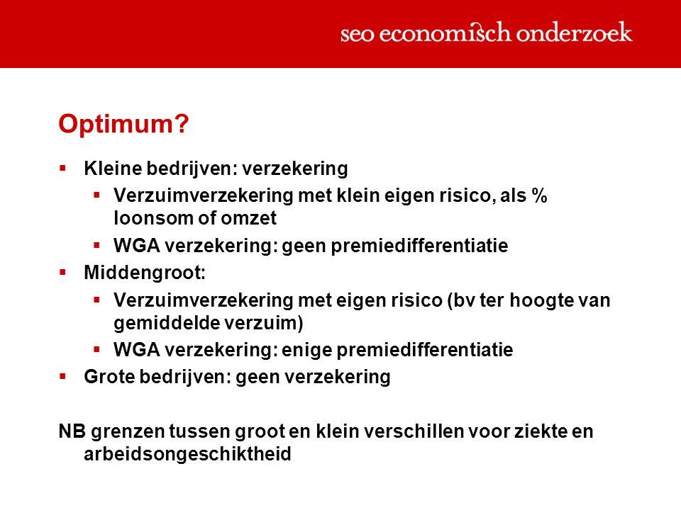 Optimum?  Kleine bedrijven: verzekering  Verzuimverzekering met klein eigen risico, als % loonsom of omzet  WGA verzekering: geen premiedifferentia