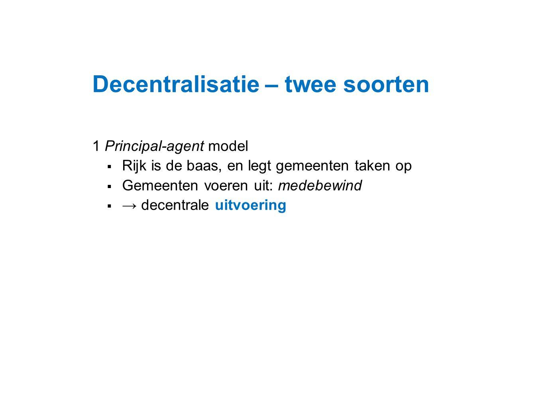 Datum 25.11.2008 Decentralisatie – twee soorten 1 Principal-agent model  Rijk is de baas, en legt gemeenten taken op  Gemeenten voeren uit: medebewi