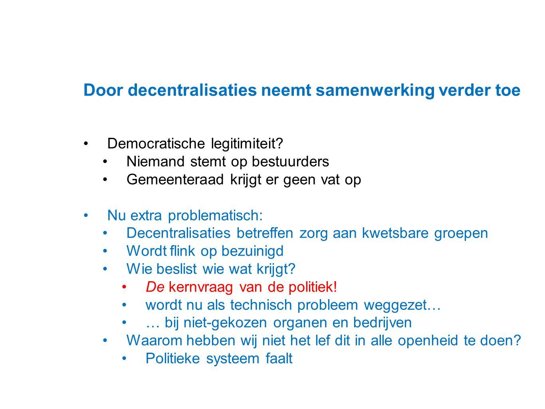 Datum 25.11.2008 Door decentralisaties neemt samenwerking verder toe Democratische legitimiteit? Niemand stemt op bestuurders Gemeenteraad krijgt er g