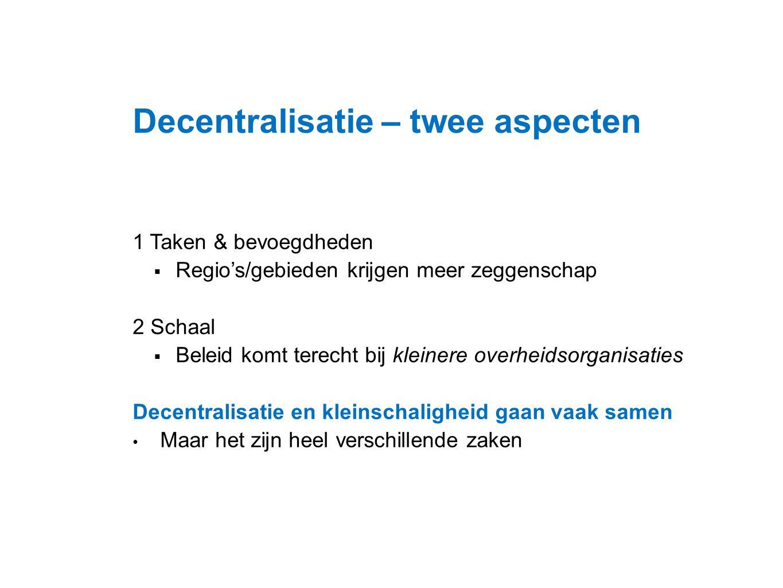 Datum 25.11.2008 Decentralisatie – twee aspecten 1 Taken & bevoegdheden  Regio's/gebieden krijgen meer zeggenschap 2 Schaal  Beleid komt terecht bij