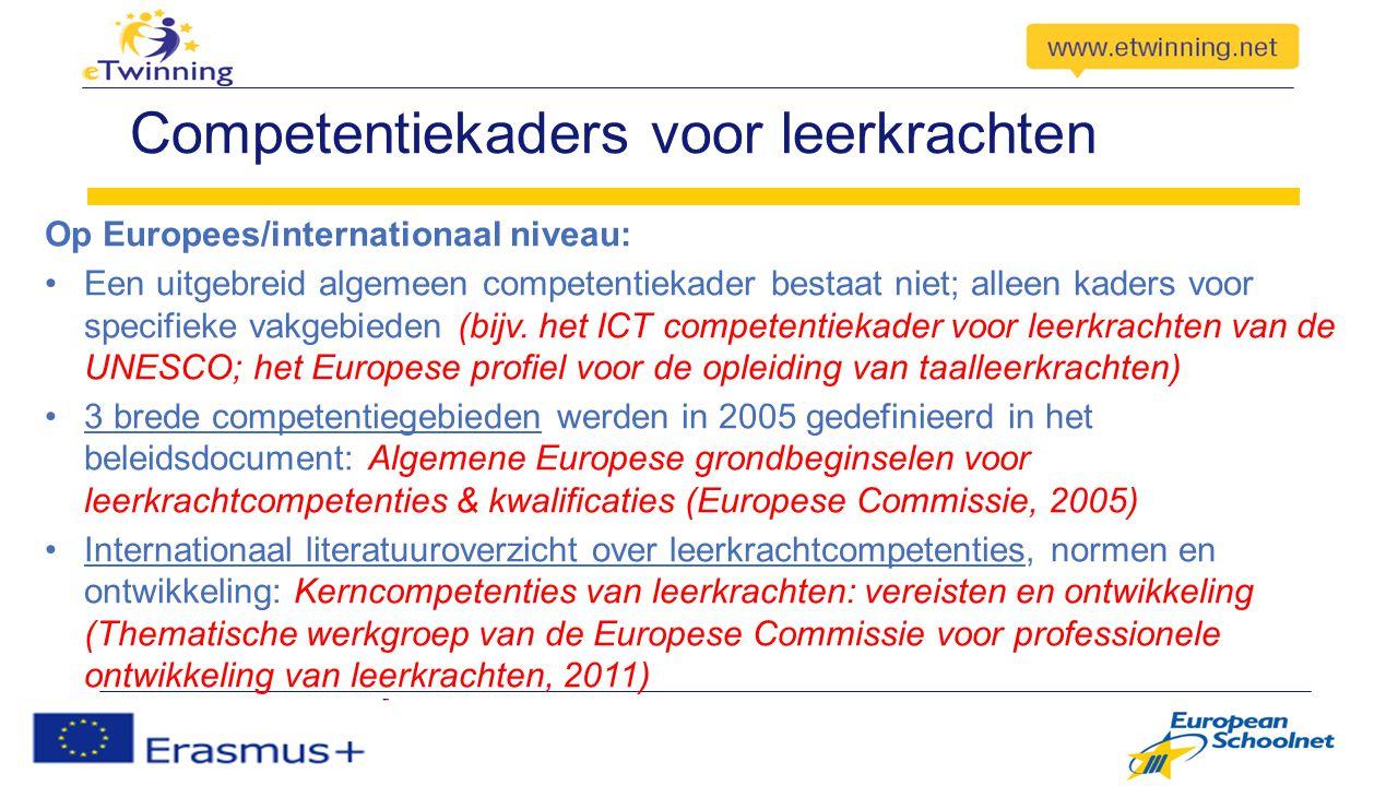 Competentiekaders voor leerkrachten Op Europees/internationaal niveau: Een uitgebreid algemeen competentiekader bestaat niet; alleen kaders voor specifieke vakgebieden (bijv.