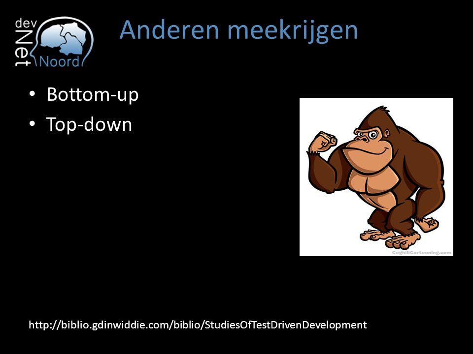 Anderen meekrijgen Bottom-up Top-down http://biblio.gdinwiddie.com/biblio/StudiesOfTestDrivenDevelopment
