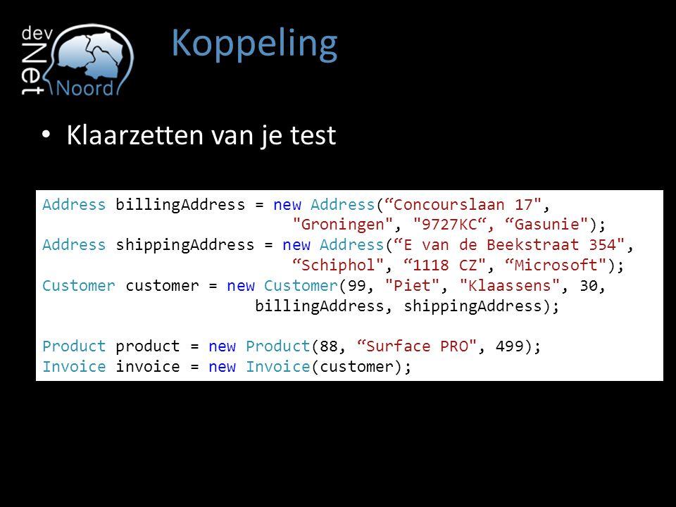 "Koppeling Address billingAddress = new Address(""Concourslaan 17"