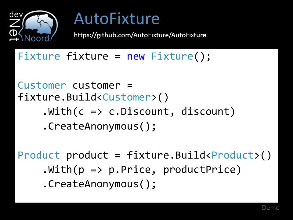 AutoFixture https://github.com/AutoFixture/AutoFixture Fixture fixture = new Fixture(); Customer customer = fixture.Build ().With(c => c.Discount, dis