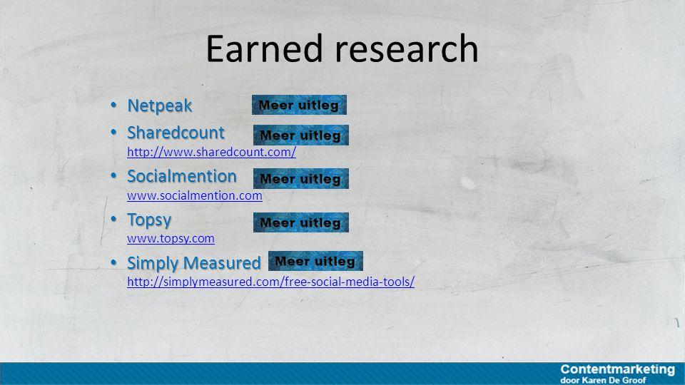 Earned research Netpeak Netpeak Sharedcount Sharedcount http://www.sharedcount.com/ http://www.sharedcount.com/ Socialmention Socialmention www.social