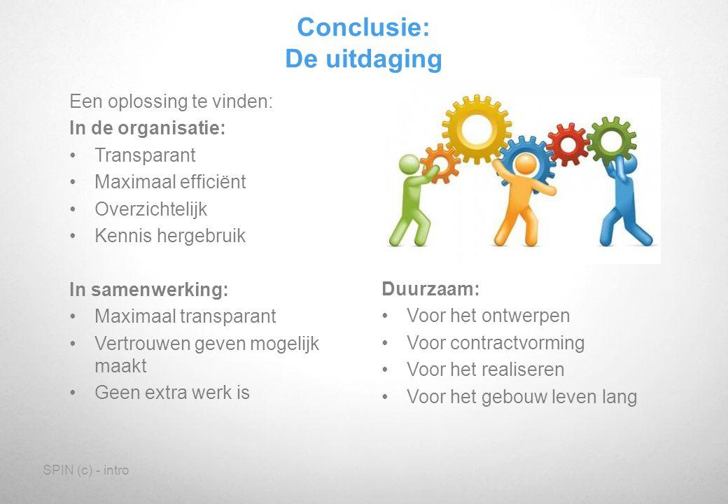 SPIN (c) - intro Conclusie: De uitdaging Een oplossing te vinden: In de organisatie: Transparant Maximaal efficiënt Overzichtelijk Kennis hergebruik I