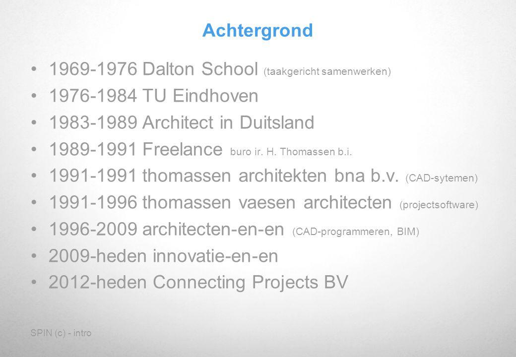 SPIN (c) - intro Achtergrond 1969-1976 Dalton School (taakgericht samenwerken) 1976-1984 TU Eindhoven 1983-1989 Architect in Duitsland 1989-1991 Freel
