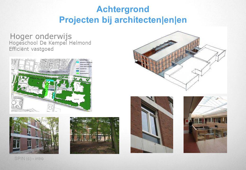 SPIN (c) - intro Hoger onderwijs Hogeschool De Kempel Helmond Efficiënt vastgoed Achtergrond Projecten bij architecten en en